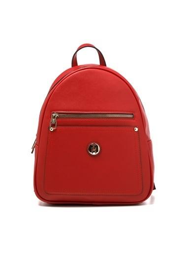TH Bags TH Bags Fermuarlı Cepli Suni Deri Kadın Sırt Çantası Kırmızı